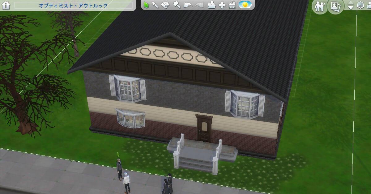 sims4で作った三浦家の違法建築豆腐ハウス外装