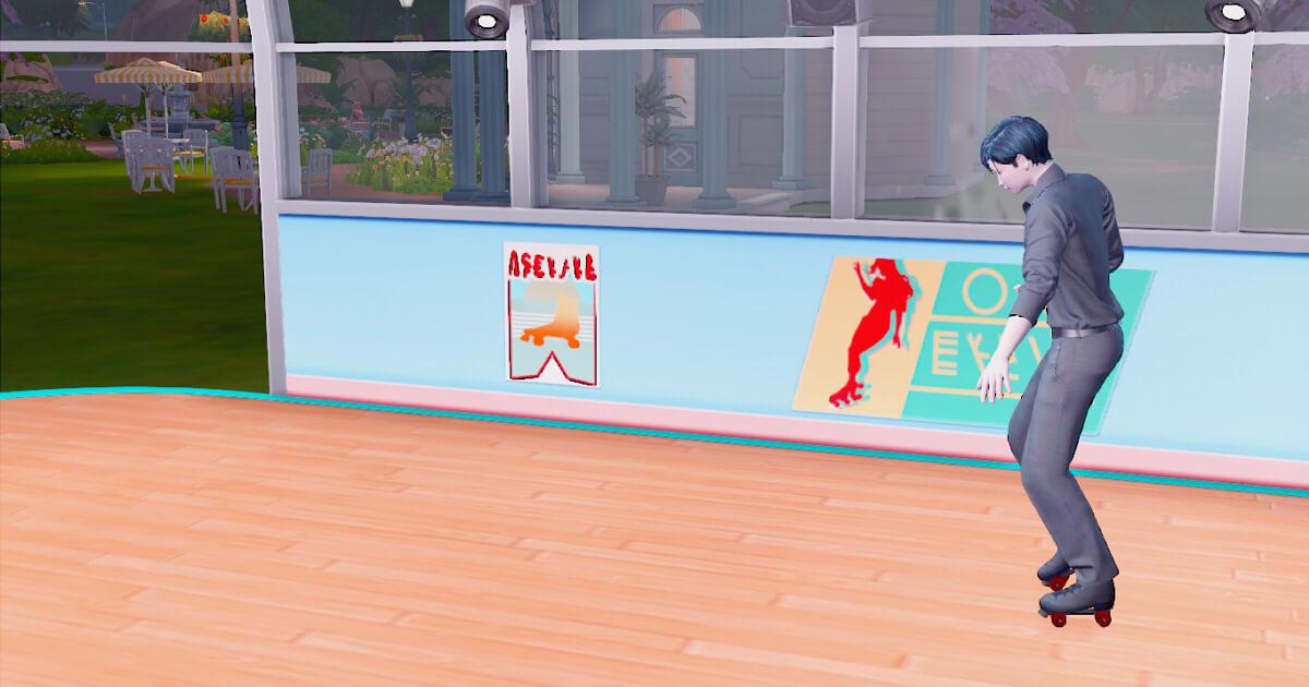 sims4でスケートをする三浦春人