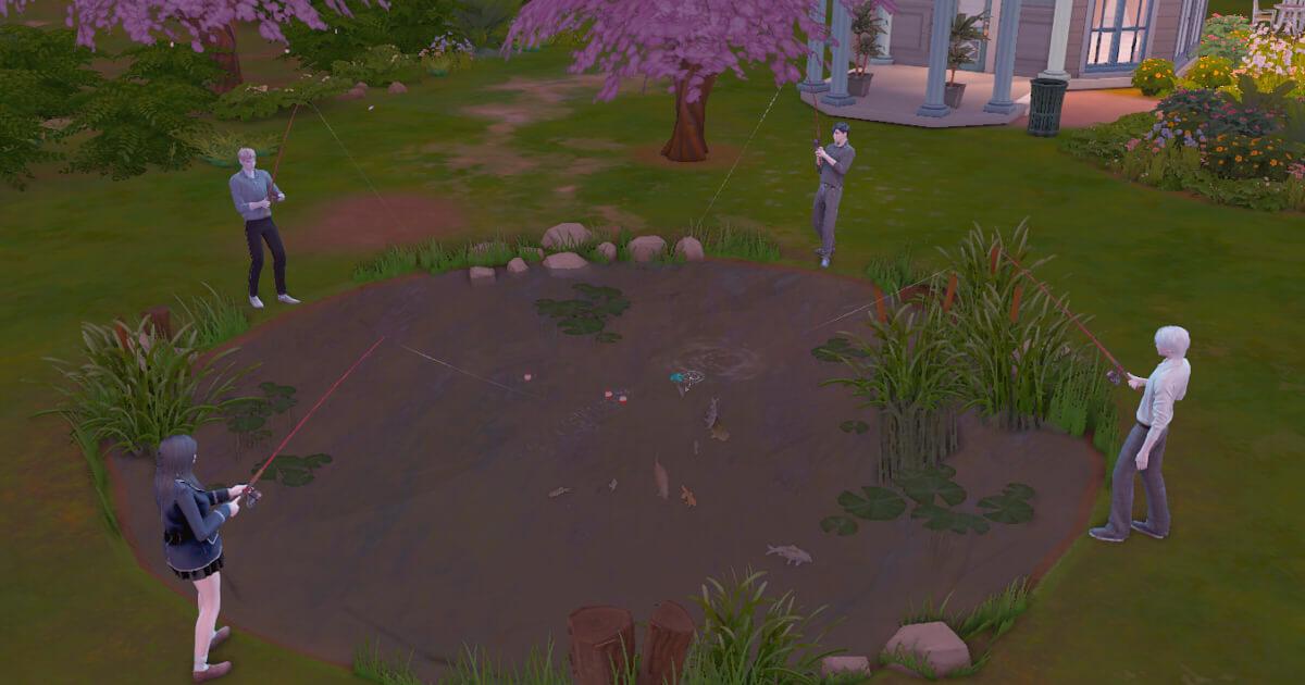 sims4で釣りをするシム達