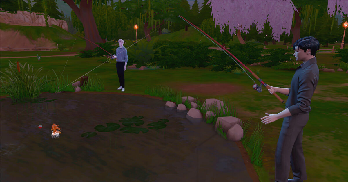 sims4で釣りをする三浦家