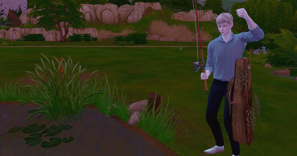 sims4で釣りをする三浦夏樹