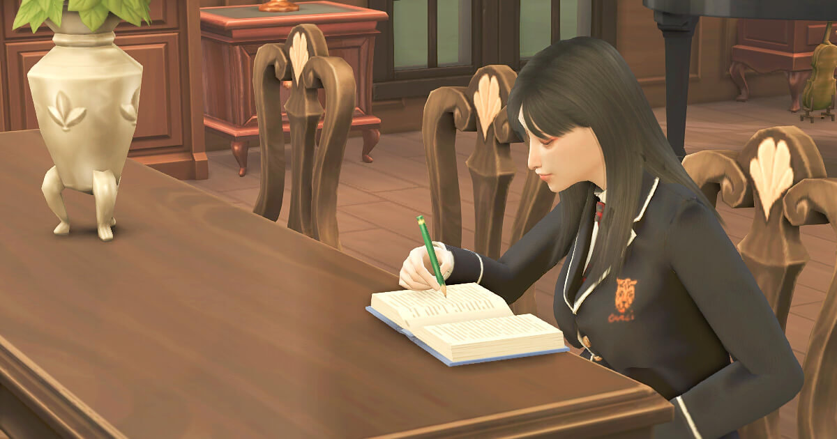 sims4で宿題をしているシム