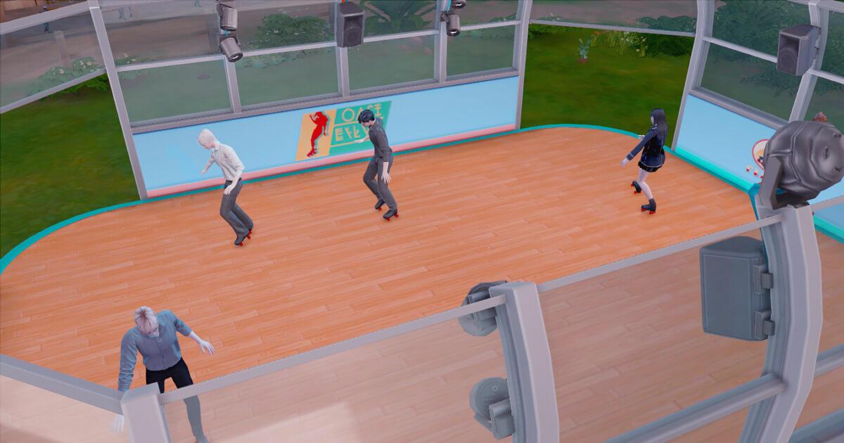 sims4でスケートをするシム達