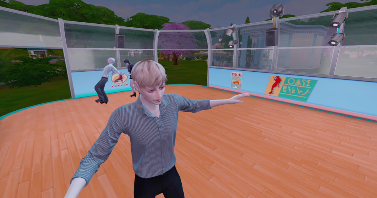 sims4でスケートをする三浦夏樹