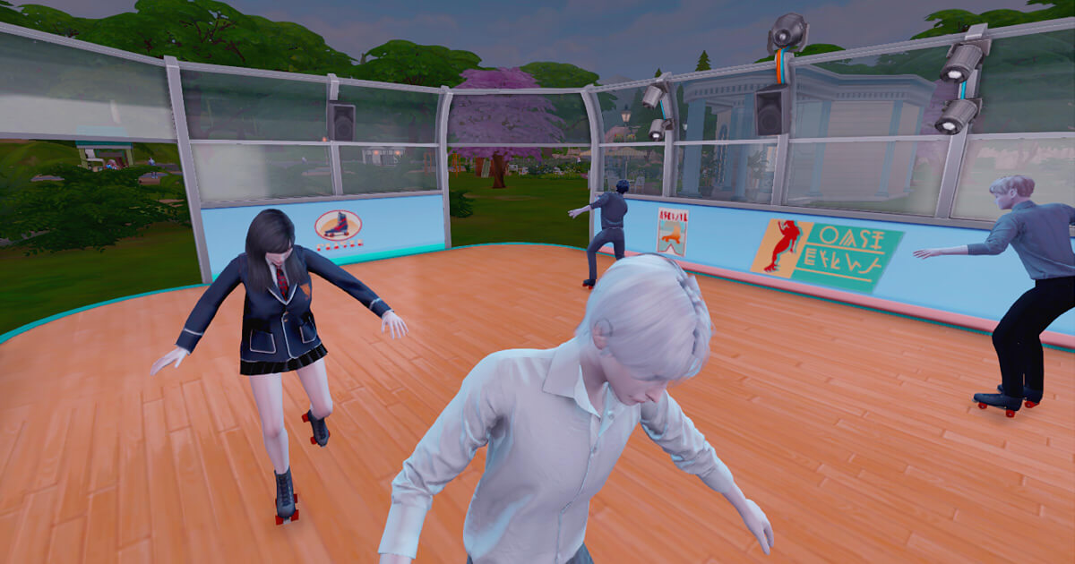 sims4でスケートをする三浦冬哉