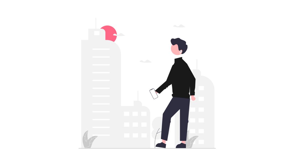 街を歩く男性のイラスト