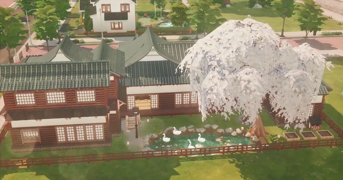 sims4で作成した屋敷の裏庭