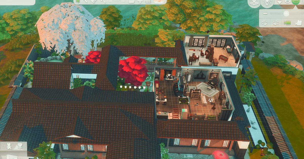 sims4で建築した屋敷の内装2階