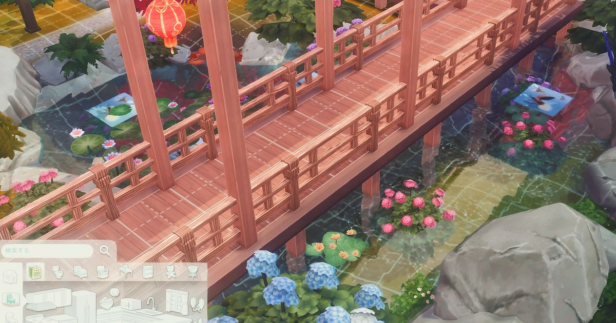 sims4で建築した日本庭園の橋