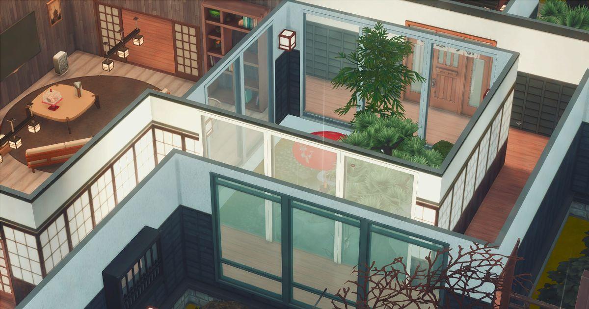 sims4で建築した回遊式の中庭日本庭園