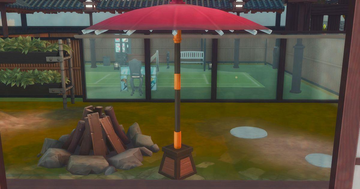縁側から見るテニスコート