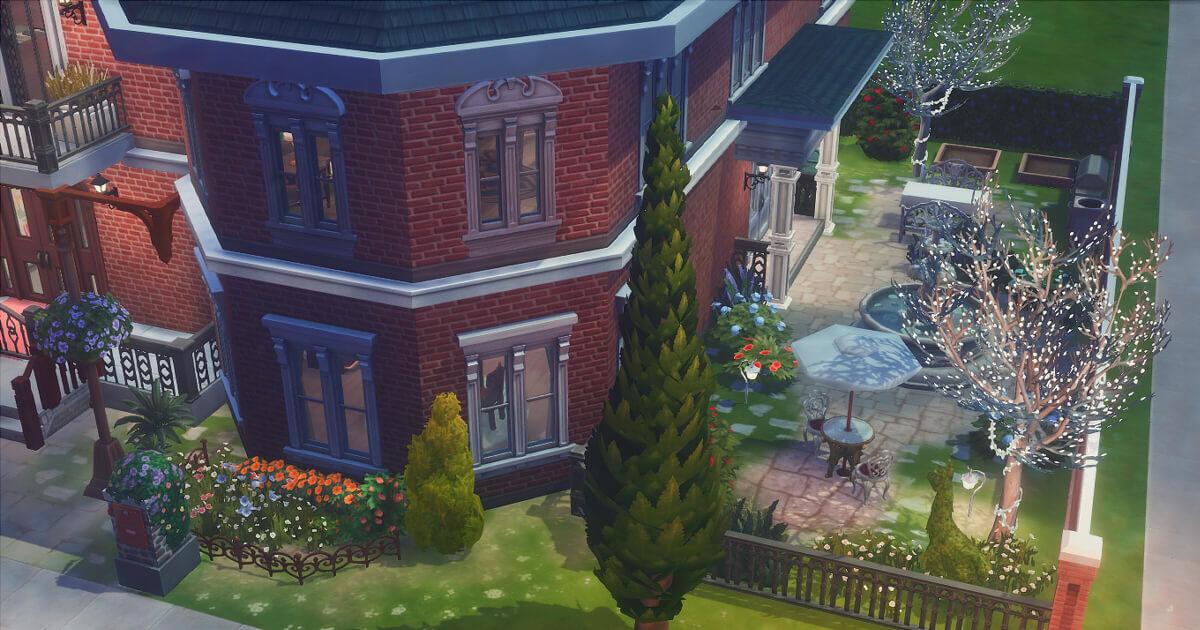 sims4で建築した東雲家の庭